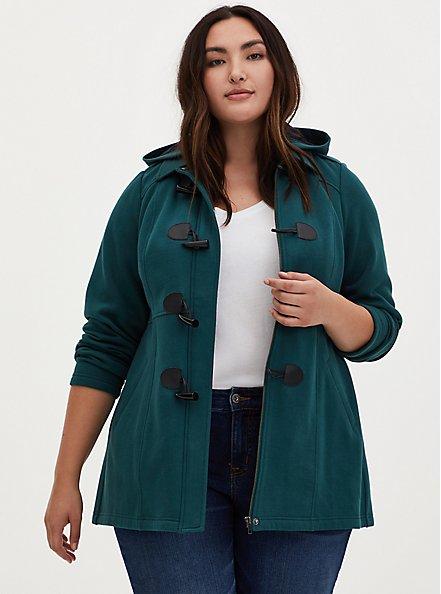 Teal Fleece Hooded Toggle Coat, JUNEBUG, hi-res