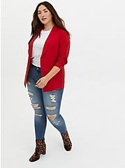 Red Crepe Long Blazer, JESTER RED, alternate