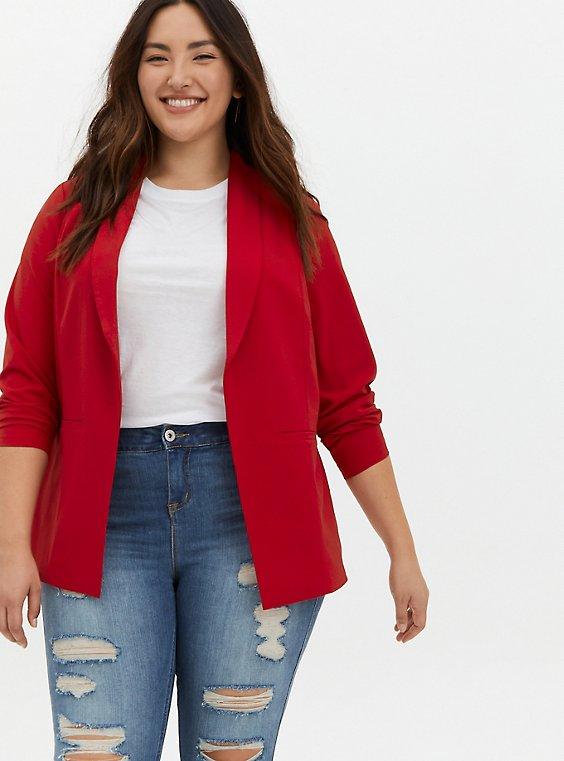 Red Crepe Long Blazer, , hi-res