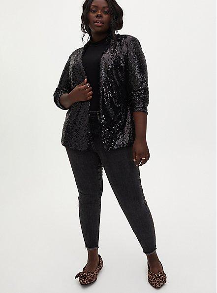 Black Sequin Blazer, DEEP BLACK, alternate