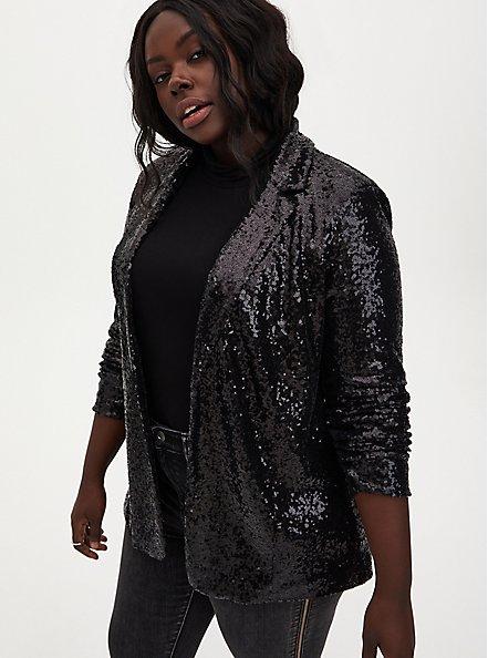 Black Sequin Blazer, DEEP BLACK, hi-res