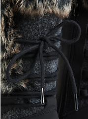Black Faux Leather & Faux Fur Trimmed Lace-Up Boot (WW), BLACK, alternate