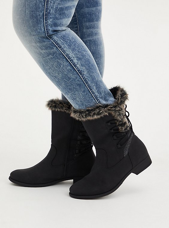 Black Faux Leather & Faux Fur Trimmed Lace-Up Boot (WW), , hi-res