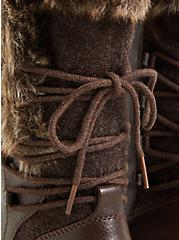 Chestnut Brown Faux Leather & Faux Fur Trimmed Lace-Up Boot (WW), BROWN, alternate