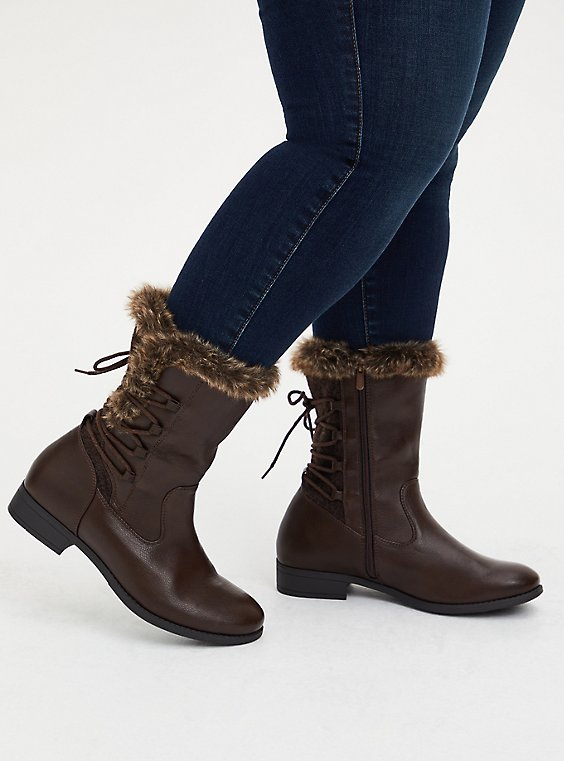 Chestnut Brown Faux Leather & Faux Fur Trimmed Lace-Up Boot (WW), BROWN, hi-res