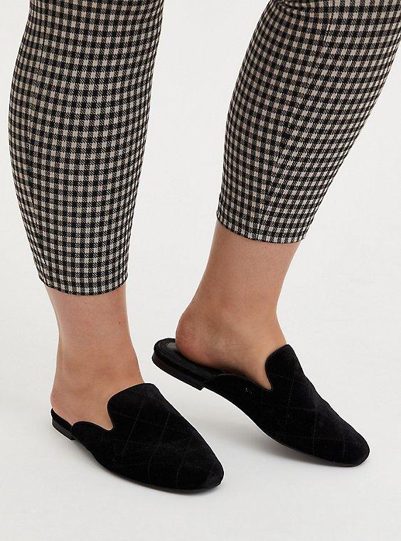 Black Quilted Velvet Loafer Mule (WW), BLACK, hi-res