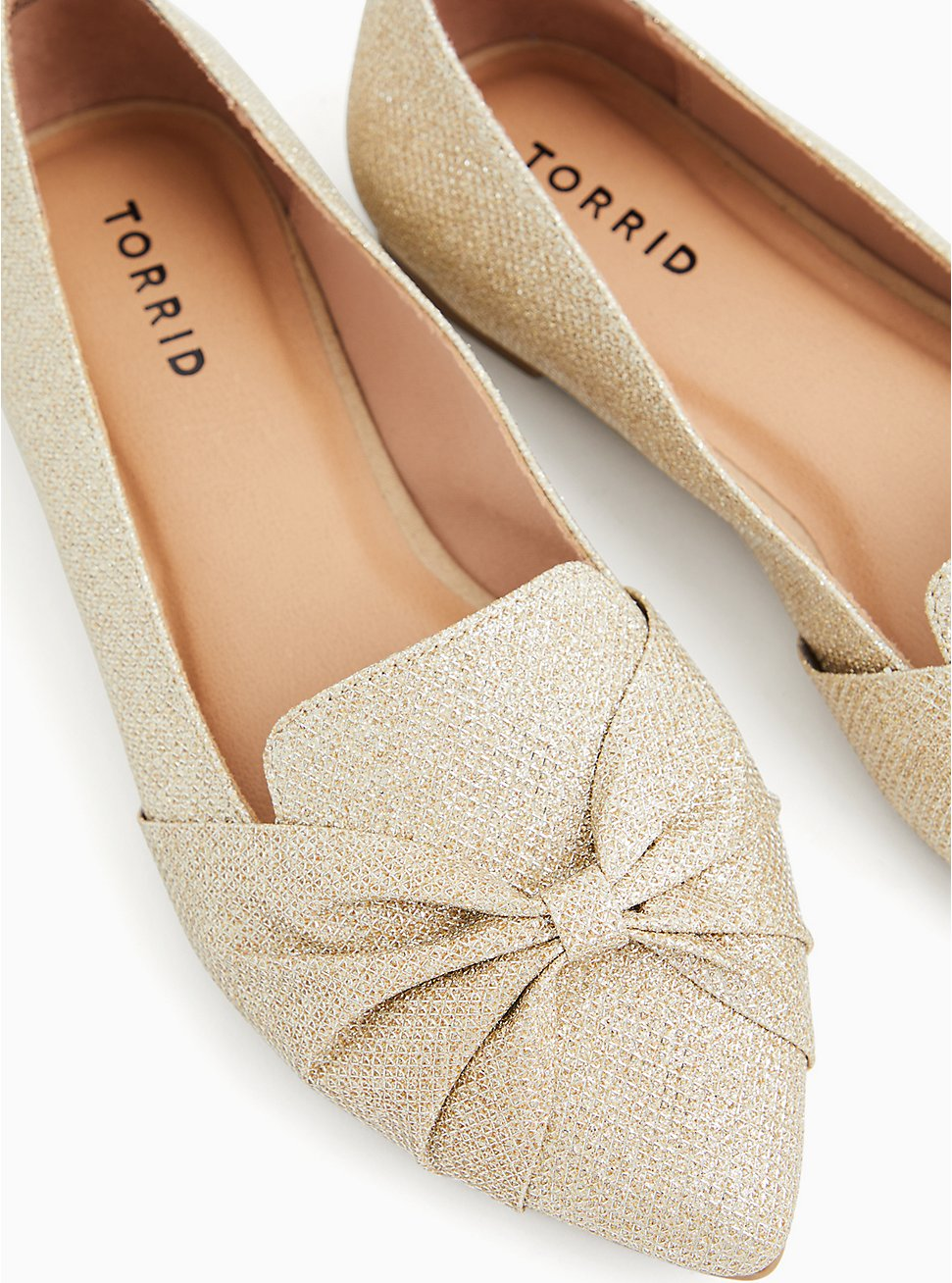 Gold Shimmer Bow Pointed Toe Loafer (WW), GOLD, hi-res