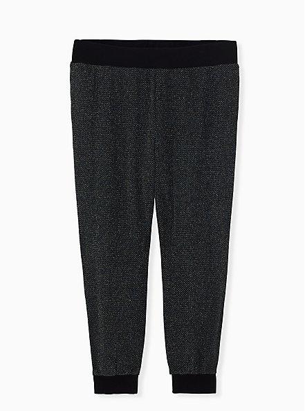 Black Shimmer Jogger , DEEP BLACK, hi-res