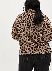 Leopard Faux Fur Zip Jacket , LEOPARD, alternate