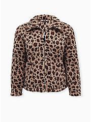 Leopard Faux Fur Zip Jacket , LEOPARD, hi-res