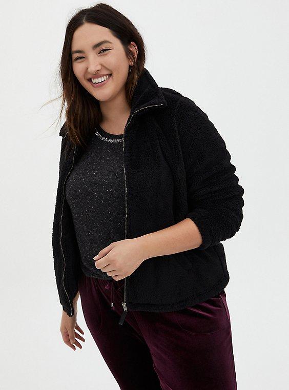 Black Faux Fur Zip Jacket, DEEP BLACK, hi-res
