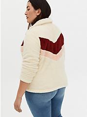 Red Chevron Stripe Faux Fur Zip Jacket , IVORY, alternate