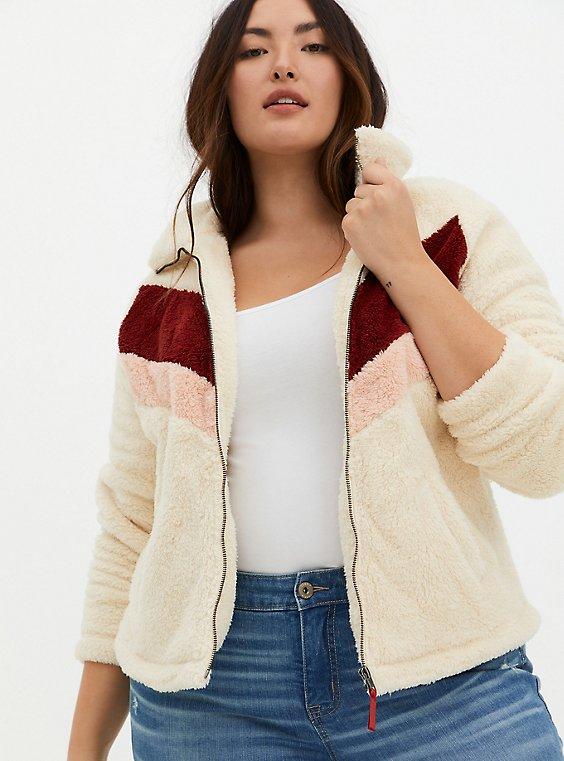 Red Chevron Stripe Faux Fur Zip Jacket , , hi-res