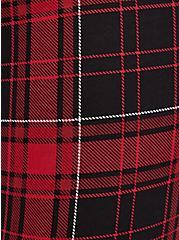 Studio Ponte Slim Fix Red Plaid Pull-On Pixie Pant , PLAID - RED, alternate