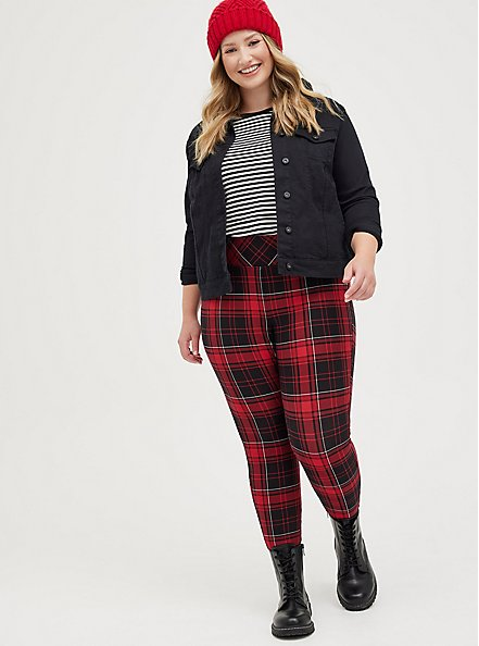 Pixie Pant - Luxe Ponte Red Plaid with Slim Fix Technology, PLAID - RED, hi-res