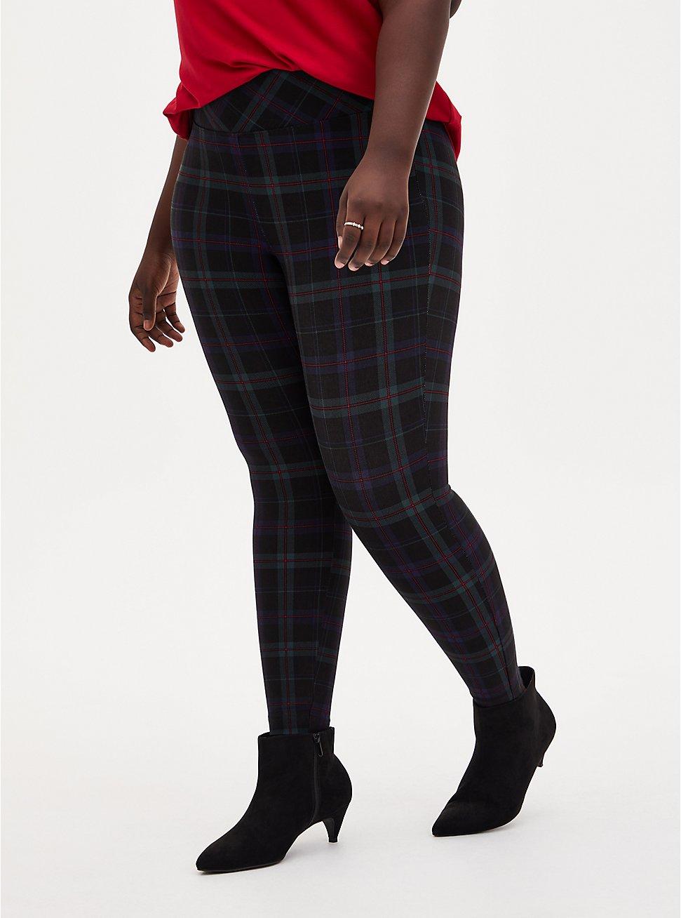 Slim Fix Dark Green & Black Plaid Pull-On Pixie Pant  , PLAID - BLUE, hi-res