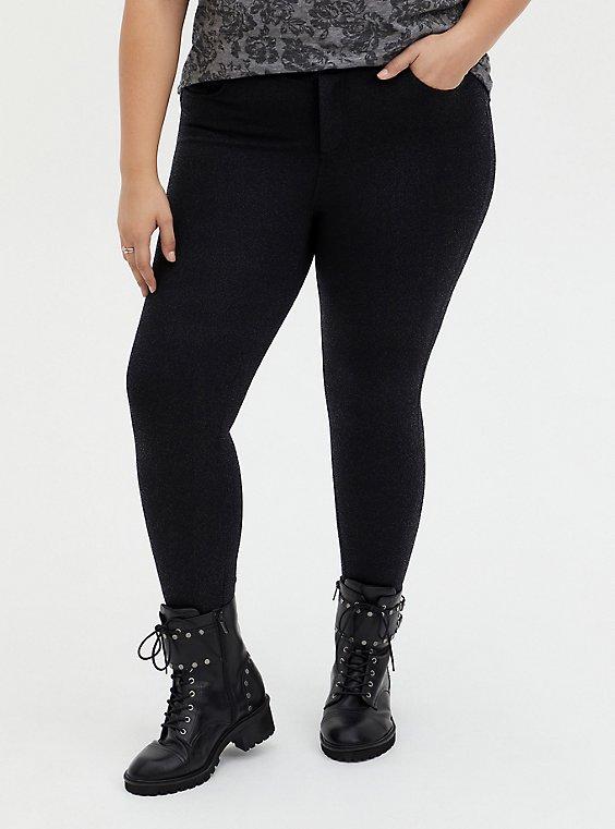 Bombshell Skinny Pant - Premium Ponte Shimmer Black , , hi-res
