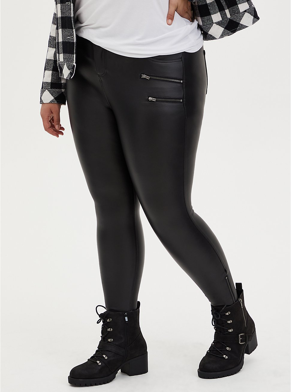 Black Coated Ponte Multi Zip Skinny Ankle Pant, DEEP BLACK, hi-res