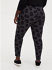 Studio Ponte Black Flocked Skull Pull-On Pixie Pant , SKULL - GREY, alternate
