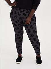 Studio Ponte Black Flocked Skull Pull-On Pixie Pant , SKULL - GREY, hi-res