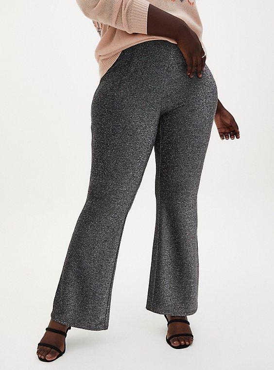 Black Shine Fit & Flare Pant  , DEEP BLACK, hi-res