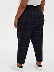 Blue & Green Plaid Paperbag Tapered Pant , PLAID - BLUE, alternate