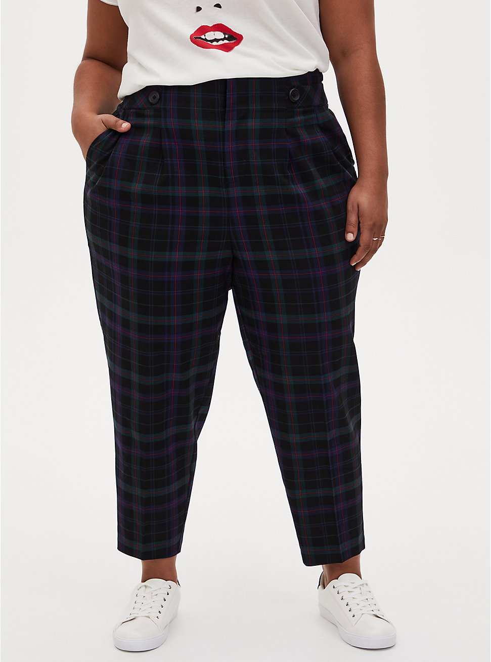 Blue & Green Plaid Paperbag Tapered Pant , PLAID - BLUE, hi-res