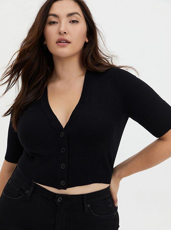 Plus Size Black Crop Button Front Cardigan, , hi-res