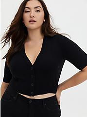 Plus Size Black Crop Button Front Cardigan, DEEP BLACK, hi-res