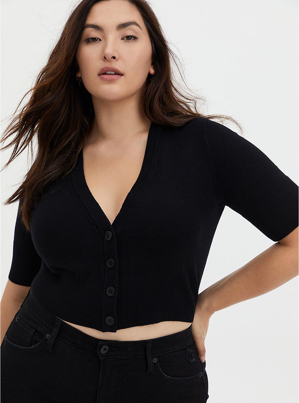 Black Crop Button Front Cardigan, DEEP BLACK, hi-res