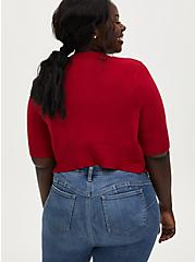 Red Button Front Crop Cardigan, JESTER RED, alternate