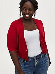 Red Button Front Crop Cardigan, JESTER RED, hi-res