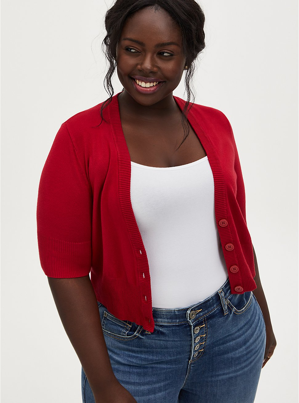 Plus Size Red Button Front Crop Cardigan, JESTER RED, hi-res