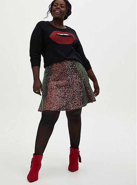 Black Cotton Lips Pullover Sweater, DEEP BLACK, alternate