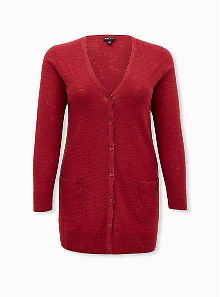 Dark Red Slub Boyfriend Button Front Cardigan, BIKING RED, hi-res