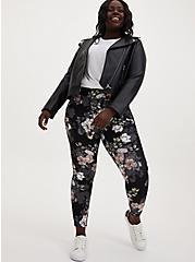 Studio Ponte Slim Fix Floral Pull-On Pixie Pant  , FLORALS-BLACK, alternate