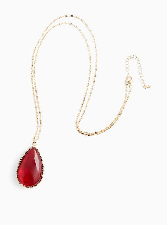 Blush & Burgundy Purple Reversible Teardrop Pendant Necklace , , hi-res
