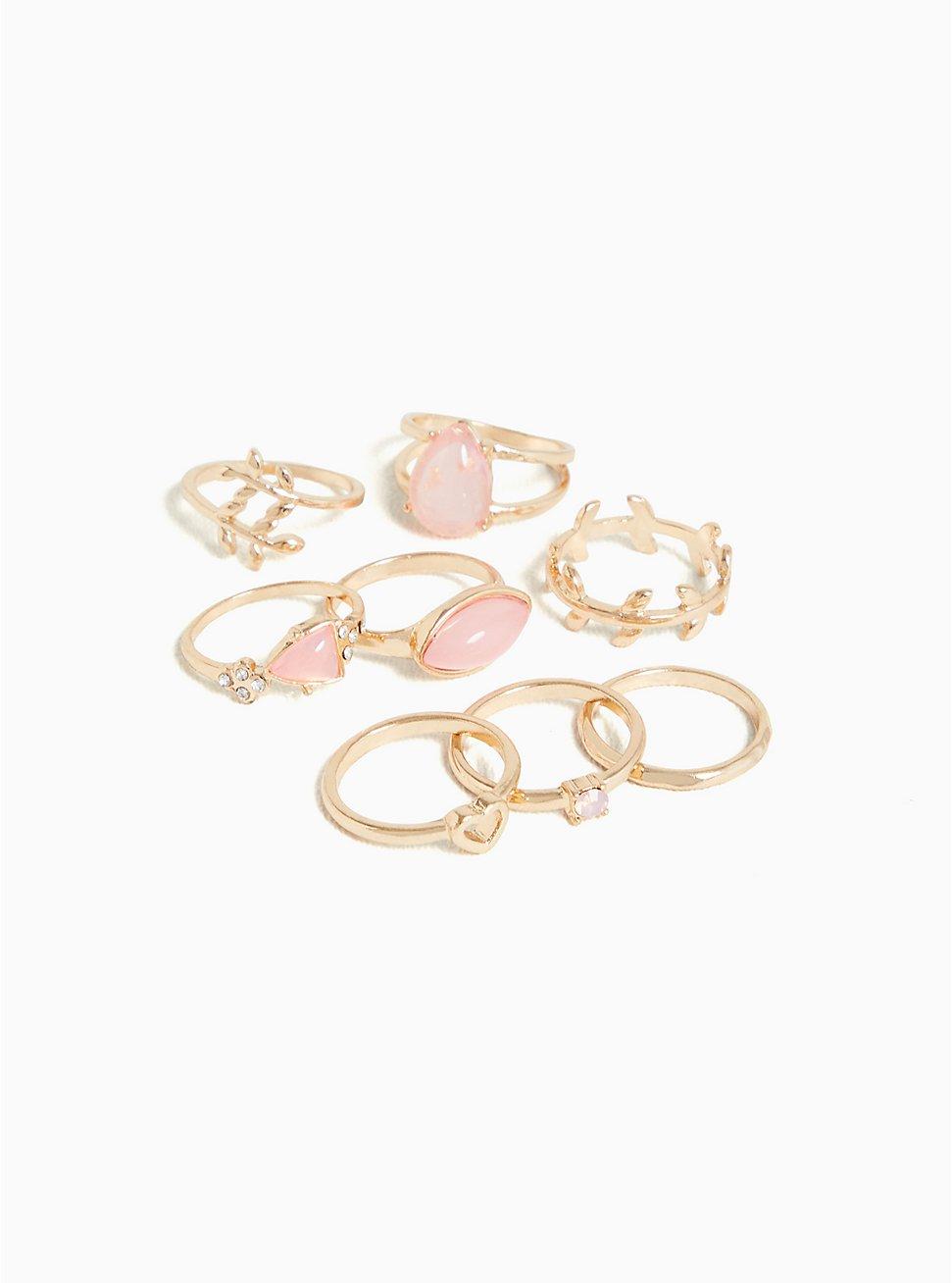Gold-Tone & Blush Faux Stone Ring Set - Set of 8, BLUSH, hi-res