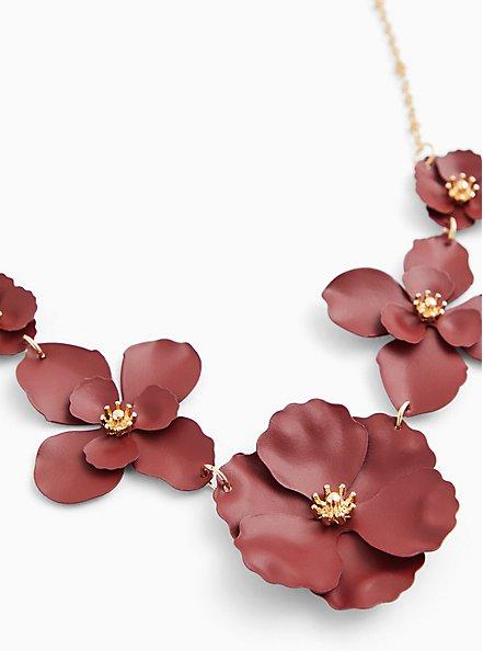 Matte Burgundy Purple Floral Statement Necklace, , alternate