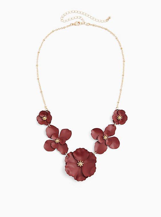 Matte Burgundy Purple Floral Statement Necklace, , hi-res