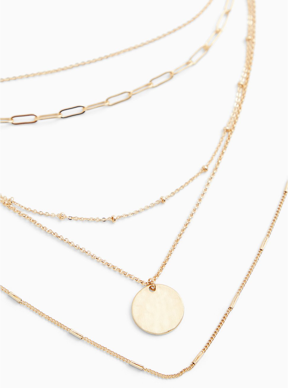 Gold-Tone Disk Pendant Layered Necklace , , hi-res