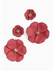 Plus Size Matte Burgundy Purple Double Floral Ear Jacket Earrings, , alternate