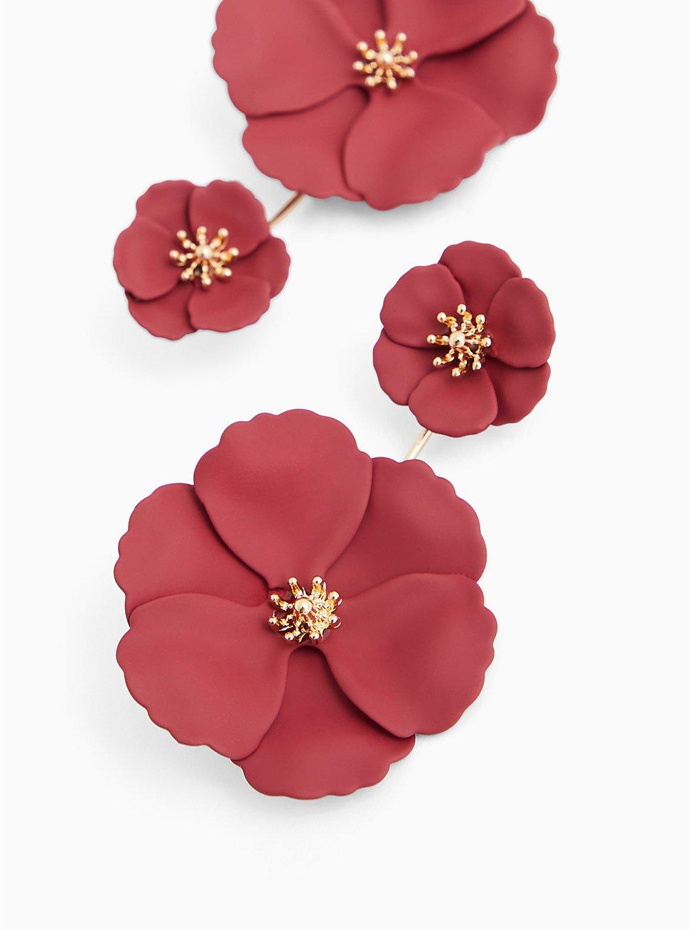 Plus Size Matte Burgundy Purple Double Floral Ear Jacket Earrings, , hi-res