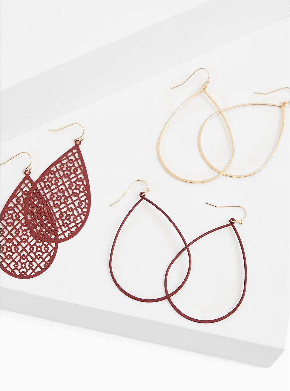 Matte Burgundy Purple Filigree Teardrop Earrings Set - Set of 3, , hi-res