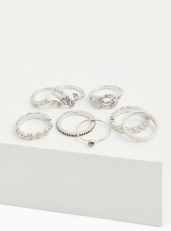 Silver-Tone Floral Ring Set - Set of 8, SILVER, hi-res