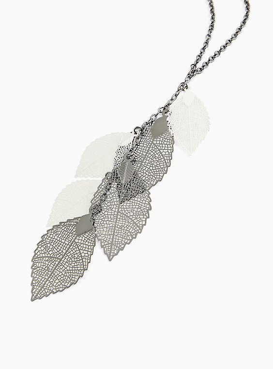 Mixed Metal Leaves Pendant Necklace, , hi-res