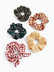 Red Gingham Bow Hair Tie Pack - Pack of 5, , alternate