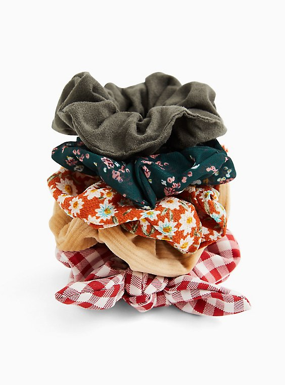 Red Gingham Bow Hair Tie Pack - Pack of 5, , hi-res