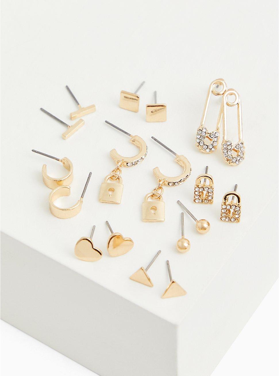 Gold-Tone Rhinestone Safety Pin Stud & Huggie Hoop Earrings Set - Set of 9, , hi-res