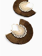 Olive Green Fringe Fan Earrings, , hi-res